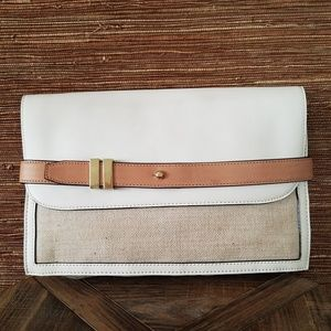 Ann Taylor Shimmer Canvas Belted Clutch